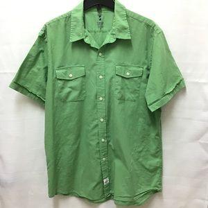 Izod Seaside Poplin Green Short Sleeve Shirt, XL